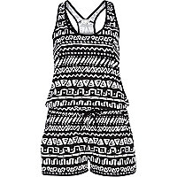 Black and white tribal print playsuit