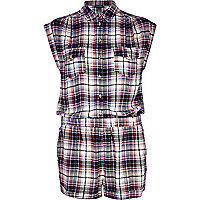Cream tartan roll sleeve shirt playsuit