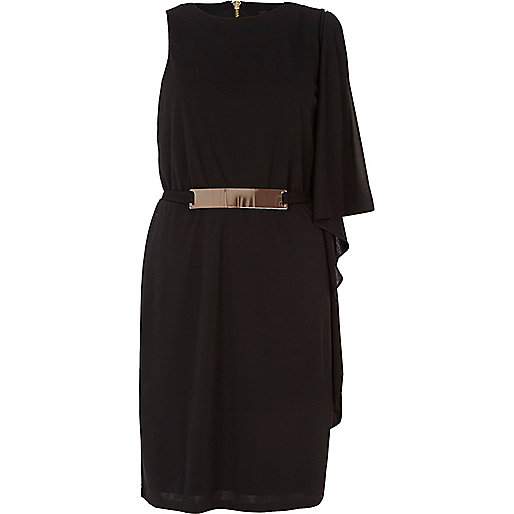Black metal trim one shoulder dress