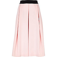 Light pink box pleat midi skirt