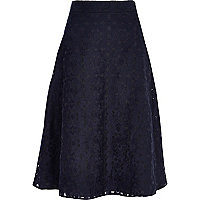 Navy floral embroidered A line midi skirt
