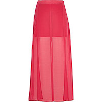 Bright pink split panel maxi skirt