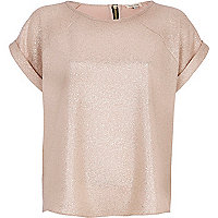 Gold metallic woven t-shirt