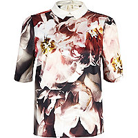 Black floral print contrast collar top