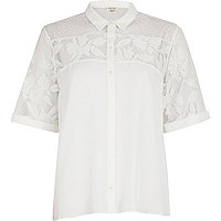 White floral lace panel boxy shirt
