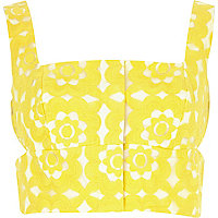 Yellow floral embroidered cut out bralet