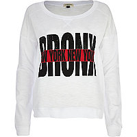 White Bronx New York studded dolman top