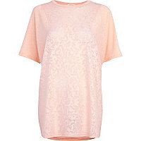 Light pink burnout pattern oversized t-shirt