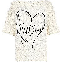 Cream marl amour heart print boxy t-shirt