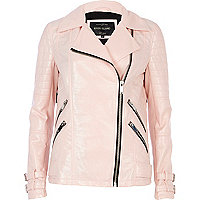 Light pink patent biker jacket