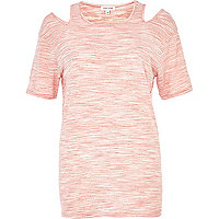 Coral marl cold shoulder t-shirt