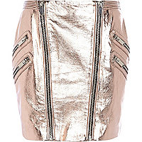 Rose gold metallic leather mini skirt