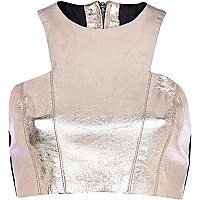 Rose gold metallic leather crop top