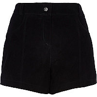 Black suede high waisted shorts