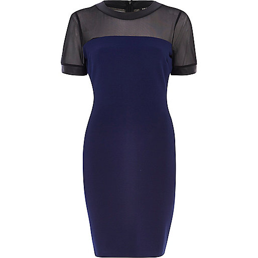 Navy mesh yoke bodycon dress