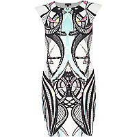 White mirrored print bodycon dress