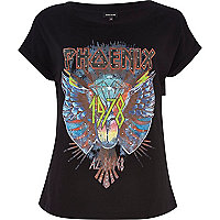 Black Phoenix print studded t-shirt