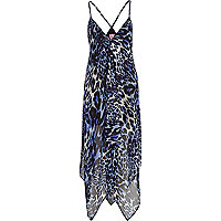 Blue animal print cami maxi dress