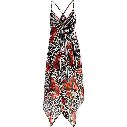 Red batik print cami maxi dress