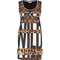 Black wild leopard print stripe tank top