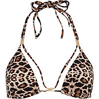 Brown animal print strappy bikini top
