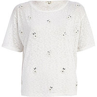 White floral embellished burnout boxy t-shirt
