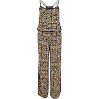Beige tribal print wide leg jumpsuit