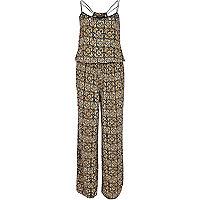 Beige tribal print wide leg jumpsuit