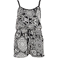 Black and white embellished print playsuit