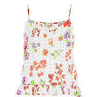 Cream floral polka dot frill hem cami top
