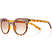 Brown tortoise shell metal trim sunglasses