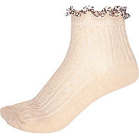 Cream animal print frill ankle socks