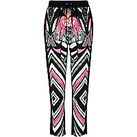 Black abstract print jogger trousers