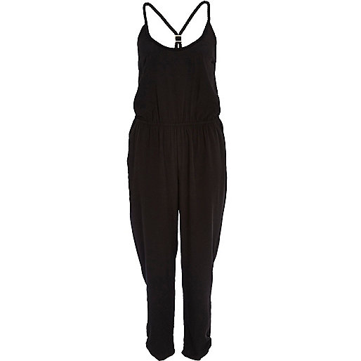 Black plaited cami jumpsuit