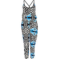 Blue tribal print plaited cami jumpsuit