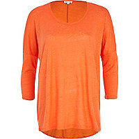 Orange linen oversized tunic