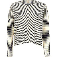 Navy mixed stripe crop jumper