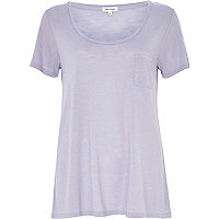 Lilac marl scoop neck t-shirt
