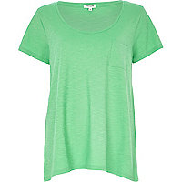 Green marl low scoop neck t-shirt