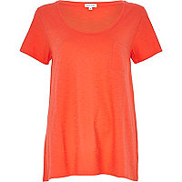 Bright orange low scoop neck t-shirt