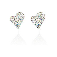 Silver tone diamante heart stud earrings