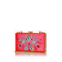 Pink transparent jewelled box clutch bag