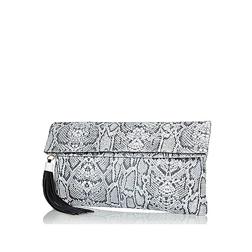 Black snake leather fold over clutch bag