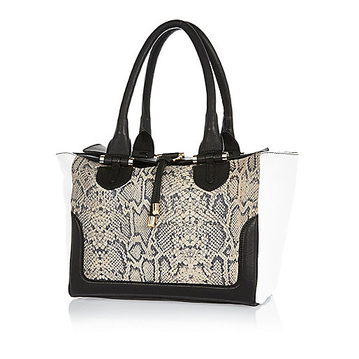 Black leather snake print panel tote bag