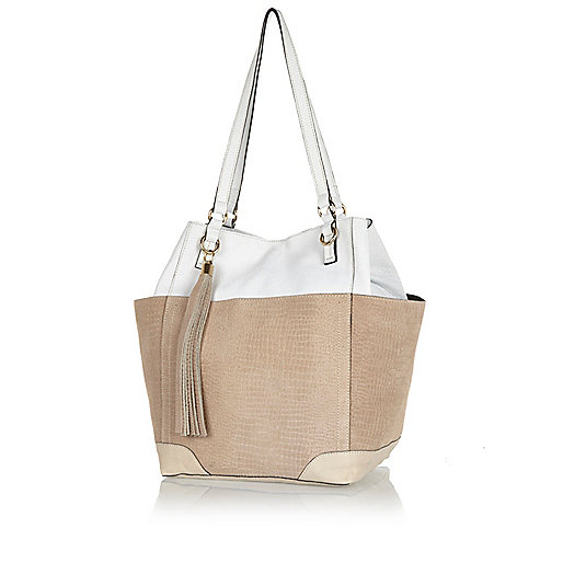 White leather colour block tote bag