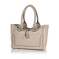 Grey leather textured panel tote bag