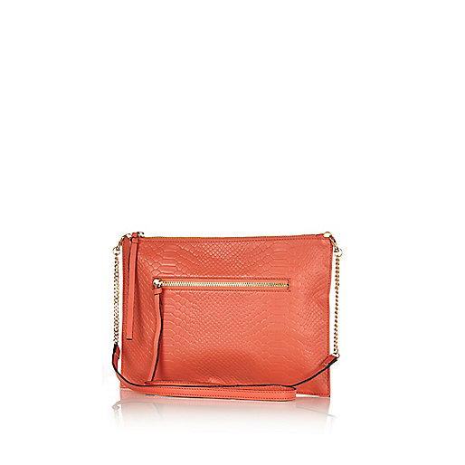 Bright coral snake leather cross body bag