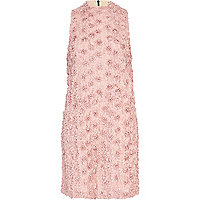 Pink 3D flower embellished shift dress