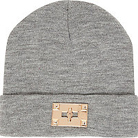 Grey twist lock trim beanie hat