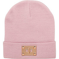 Light pink twist lock trim beanie hat